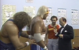 Not only that, the guy in the tank top is Hogan's Doctor. The guy in the tank top. And how did Hillbilly Jim get there, wasn't he in Chicago for the Battle Royale? How did he get to LA so quickly?