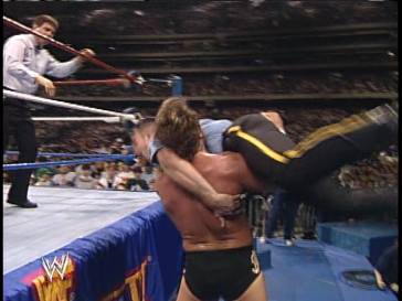 Oh and before the match starts, Dibiase beats him up for some reason