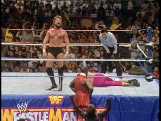 Dibiase actually stops in mid-match to yell at the crowd for ignoring him